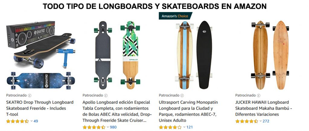 Todo tipo de longboards en Amazon