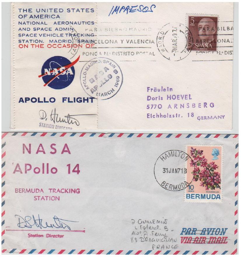 (Fig 3) 03.03.69 Madrid. Apollo 9 launch and 31.01.71 Bermuda. Apollo 14 launch. Covers signed by Daniel S. Hunter.