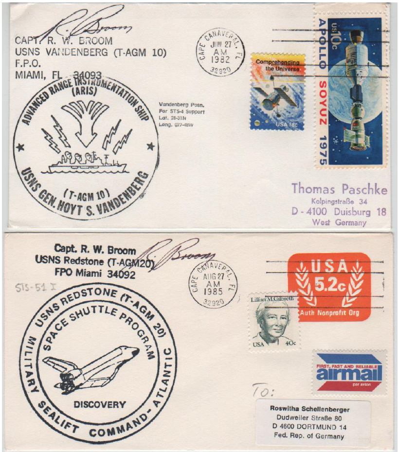 (Fig 4) 27.06.82 CC. USNS Vandenberg, tracking ship for STS-4 and 27.08.85 CC. USNS Redstone, tracking ship for STS-51I. Covers signed by Capt. R.W. Broom.