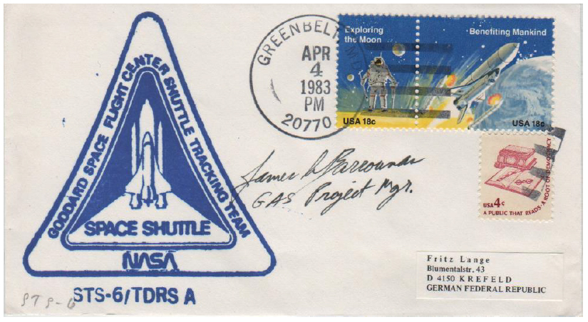(Fig 5) 04.04.83 Greenbelt. STS-6 launch. Cover signed by GAS Project Manager of GFSC James S. Barrowman.