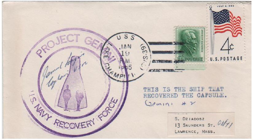 (Fig 6) 19.01.65 USS Lake Champlain. Splashdown GT-2. Cover signed by Captain James Longino Jr.