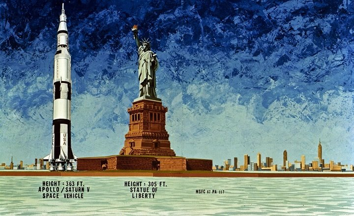 Comparativa Saturno V y Estatua de la Libertad