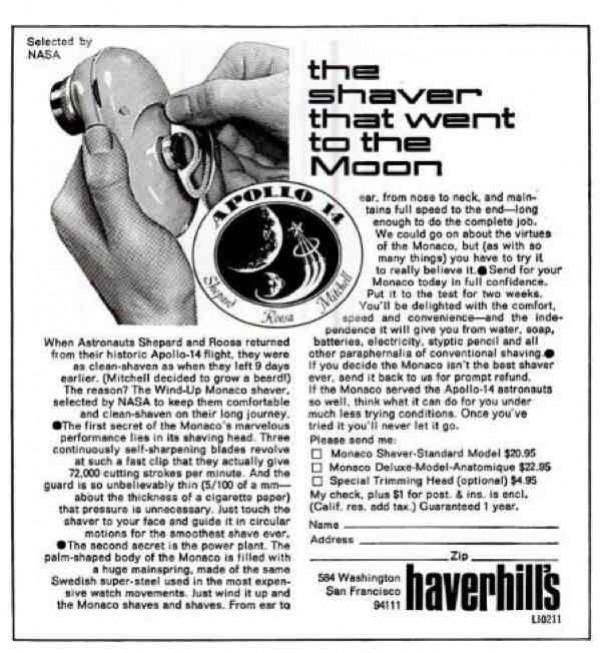 Maquinilla Mónaco de Haverhill's usada en el Apolo 14.
