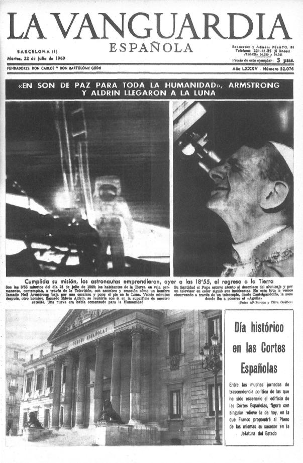 Portada de La Vanguardia española de hace 41 años.