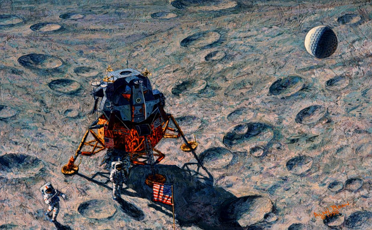 Apolo 14 golf - pintura Alan Bean