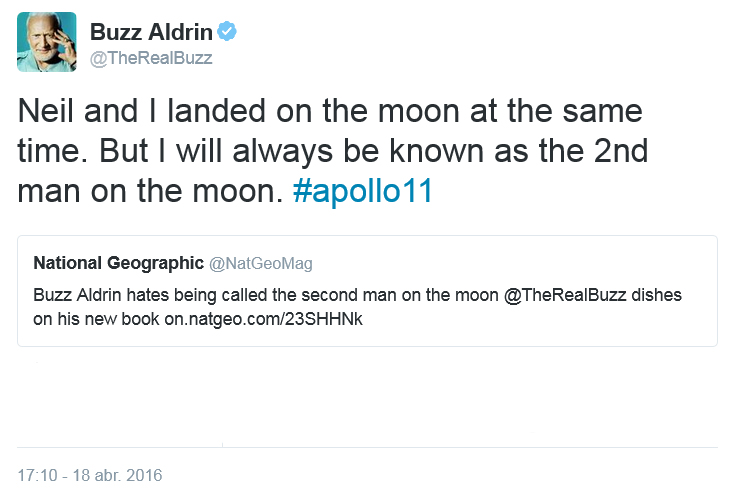 Tuit de Buzz Aldrin el 18 abril 2016