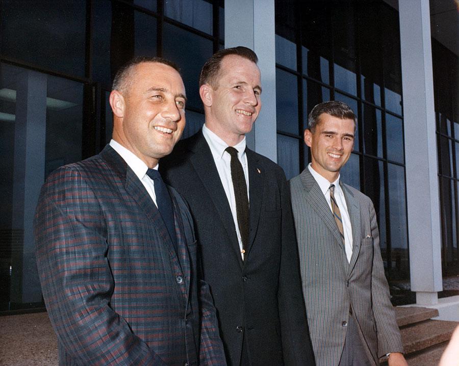 Tripulación del Apolo 1. De izq. a dcha: Gus Grissom, Ed White y Roger Chaffee.