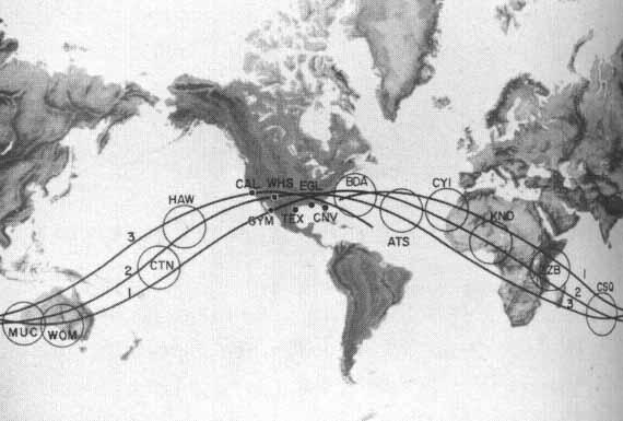 Red de seguimiento de la NASA para el Programa Mercury. La estación canaria es la marcada como CYI. NASA.