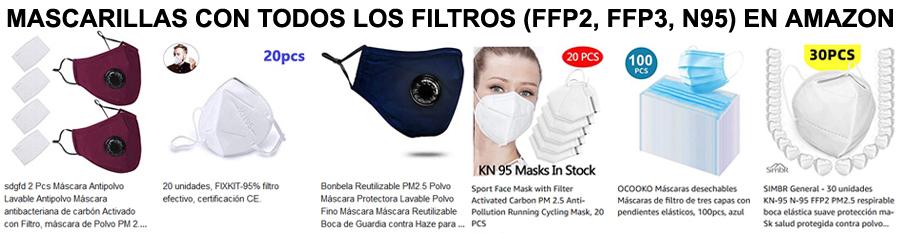Mascarillas con todos los filtros en Amazon