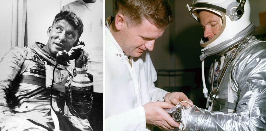 Izq: Walter Schirra después de volar con el Sigma-7 en 1962. Dcha: Leroy Gordon Cooper preparándose para su misión del Faith-7 en 1963. Ambos astronautas llevan el Omega Speedmaster modelo CK 2998.