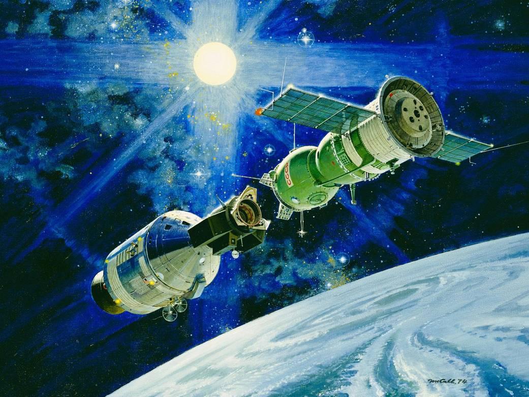 Dibujo conceptual del Apolo-Soyuz Test Project