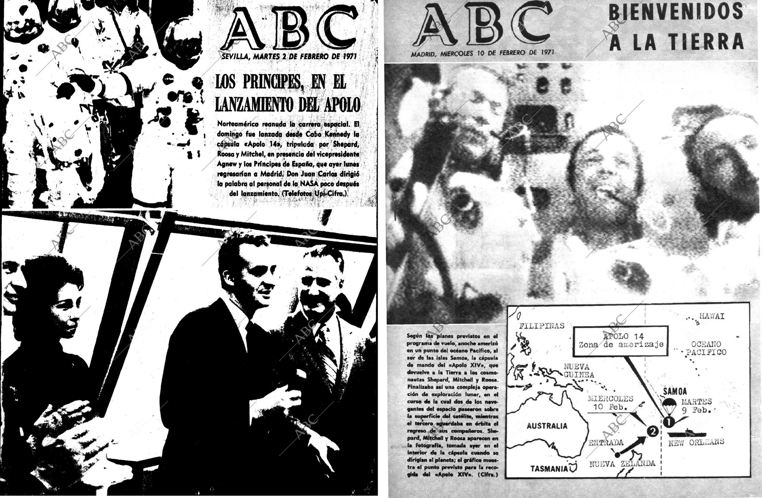 Portadas del ABC en referencia al Apolo 14 (1971).