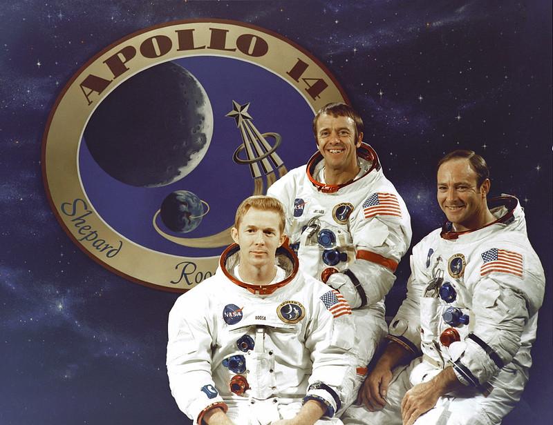Tripulación del Apolo 14. De izq. a dcha: Roosa, Shepard y Mitchell.
