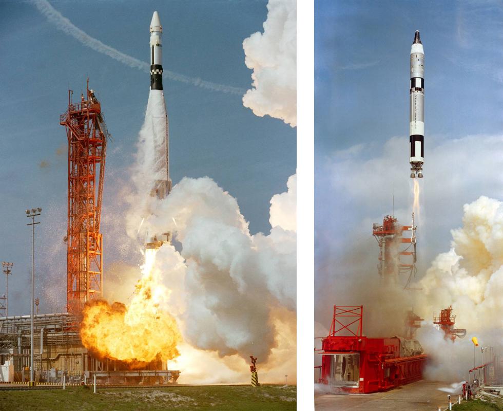Lanzamientos del Agena (izq.) y del Géminis 8 (dcha.) - NASA