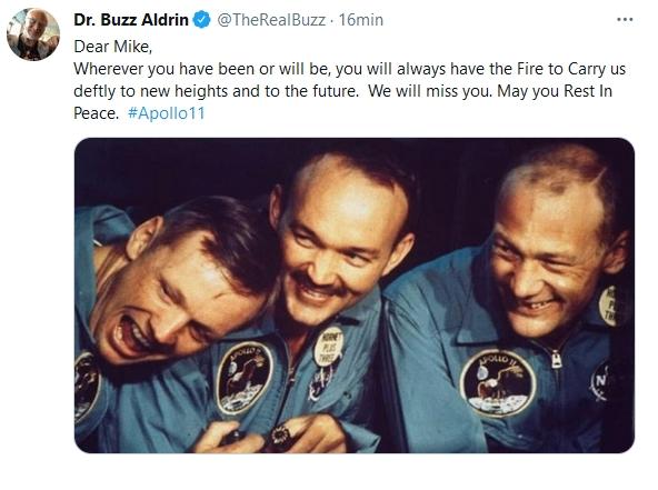 Despedida de Buzz Aldrin en Twitter.