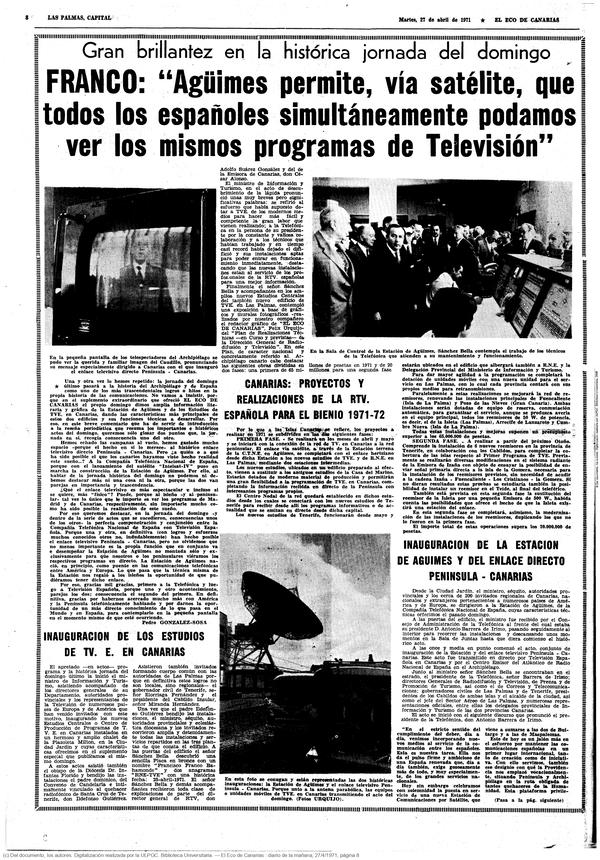 El Eco de Canarias, 27 de abril de 1971.