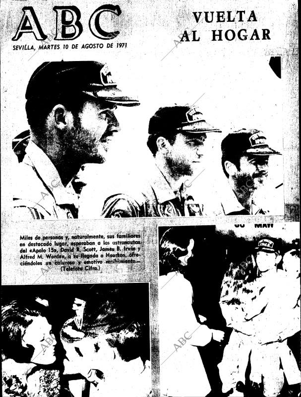 Portada del diario ABC del 10 de agosto de 1971 con la noticia delregreso del Apolo 15 (ABC)