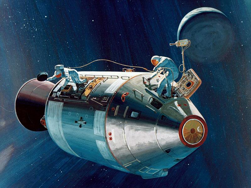 Concepción artística de la EVA de Al Worden al regreso del Apolo 15 de la Luna (NASA - S71-39614)