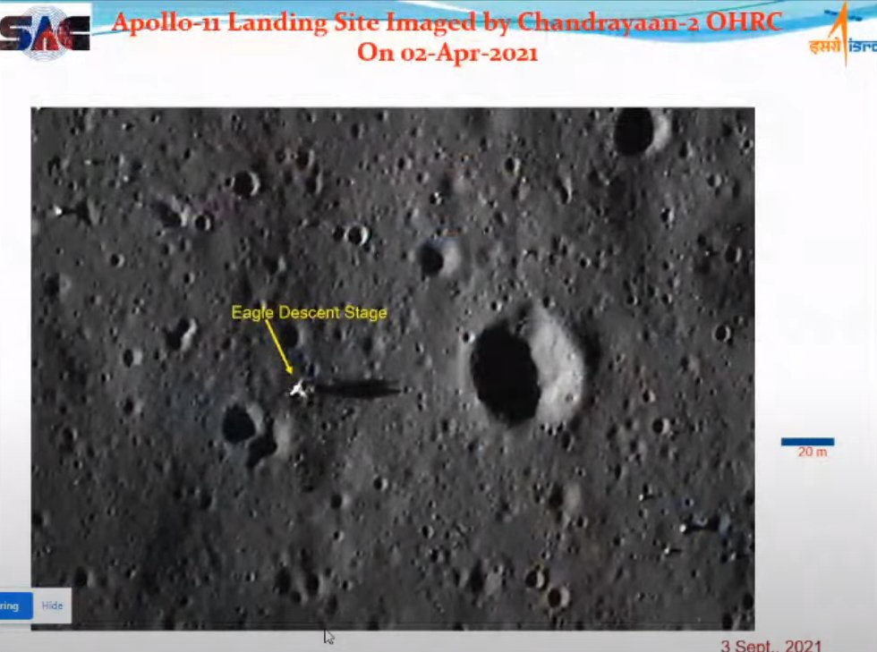 Zona de alunizaje del Apolo 11 en el Mar de la Tranquilidad, fotografiada por el orbitador de la sonda Chandrayaan 2 (ISRO - Blog Eureka)